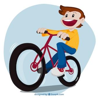Chico montando en bici
