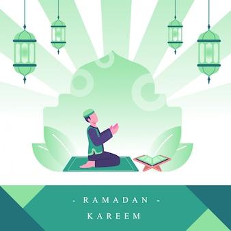Chico musulmán rezando en la mezquita. ilustración plana del concepto de actividades de ramadán
