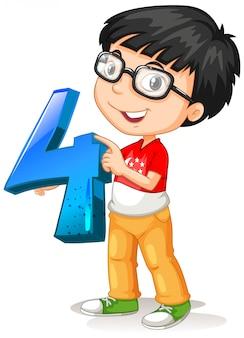 Chico nerd con gafas sosteniendo matemáticas número cuatro