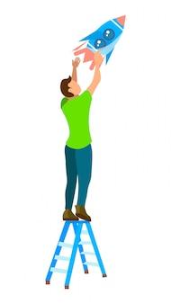 Chico parado en la ilustración de la escalera