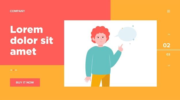 Chico pelirrojo apuntando al bocadillo vacío. dedo, chat, red. concepto de comunicación y mensaje para el diseño de sitios web o páginas web de destino