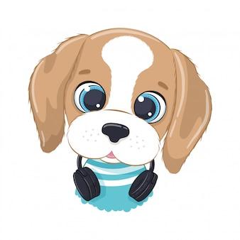 Chico de perro de dibujos animados lindo con auriculares escucha música