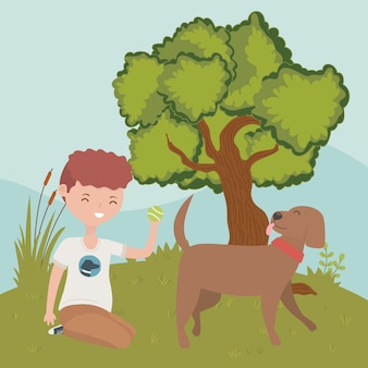 Chico con perro de dibujos animados