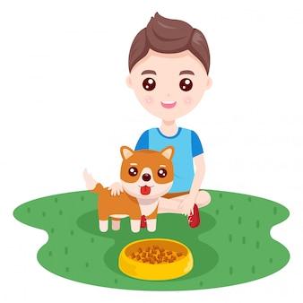 Chico y un perro