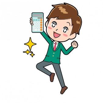 Chico de personaje de dibujos animados lindo, salto de calculadora