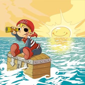 Chico pirata en el mar