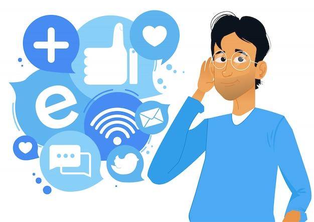 Chico recibiendo información de las redes sociales.
