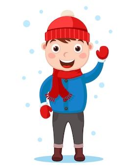 Chico en ropa de invierno olas y sonrisas. personaje sobre un fondo blanco.