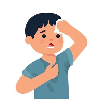 Chico con ropa sudorosa, niño limpie su cabeza con pañuelo