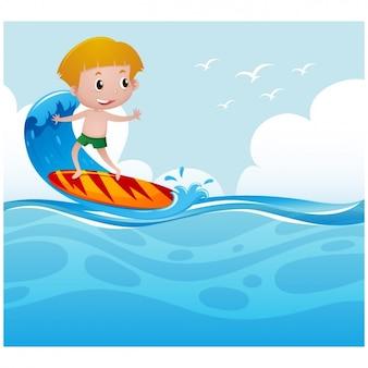 Chico surfeando en el mar
