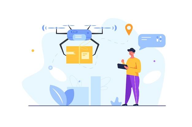 Chico con tableta provocó la entrega de carga en caja a través de un dron inalámbrico eléctrico aislado sobre fondo blanco, plano