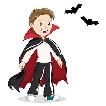 Chico en traje de vampiro