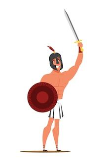Chico vestido con ropa antigua con espada y escudo.