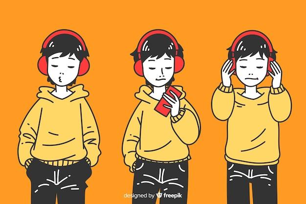 Chicos escuchando música en estilo de dibujo coreano