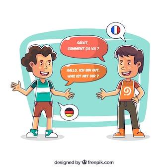 Chicos felices hablando distintos idiomas dibujado a mano