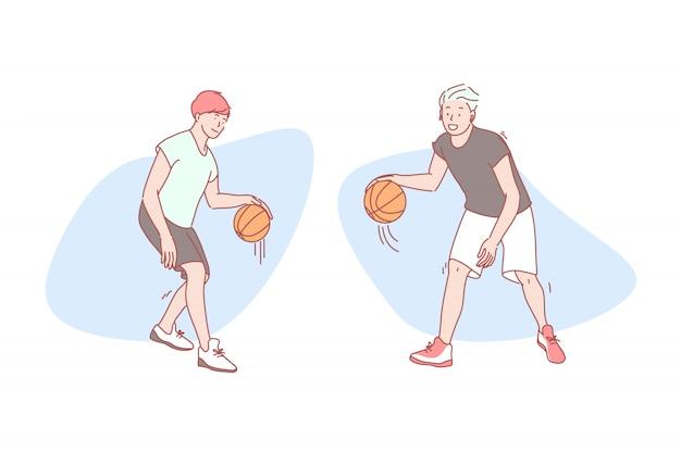 Chicos juegan baloncesto conjunto ilustración