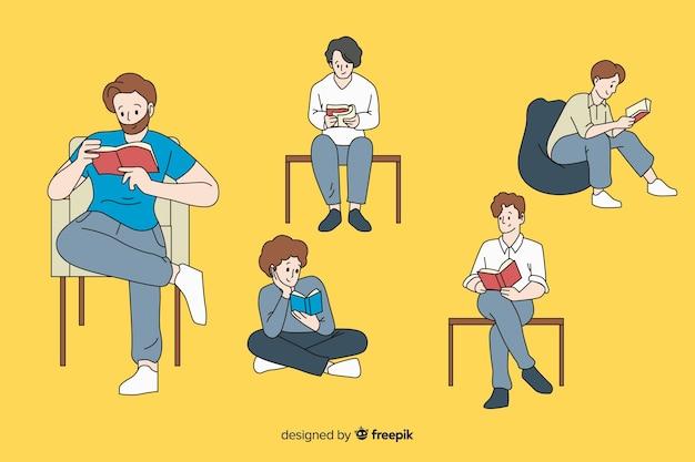 Chicos leyendo en estilo de dibujo coreano