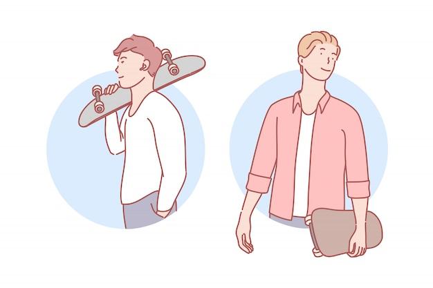 Chicos con patinetas set ilustración
