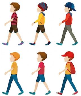 Chicos sin rostro caminando