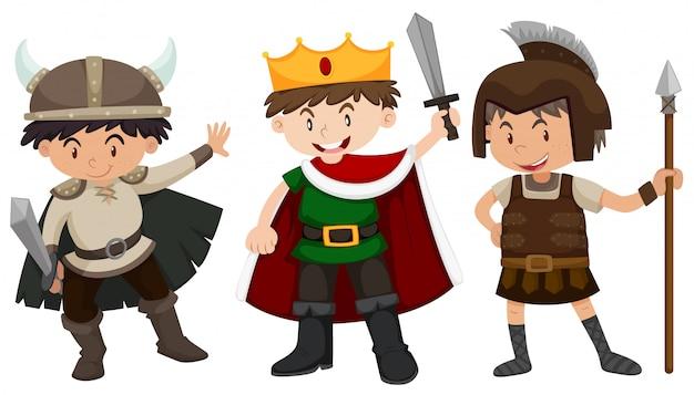 Chicos en traje de soldado y príncipe