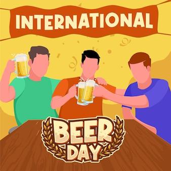 Chicos vaso de cerveza brindis para celebrar el día internacional de la cerveza