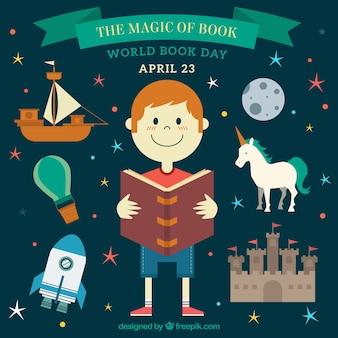 Chil con la magia del fondo del libro