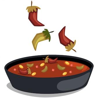 Chile con carne. comida tradicional mexicana. sopa con chile y frijoles.