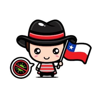 Chile niño con bandera contra virus