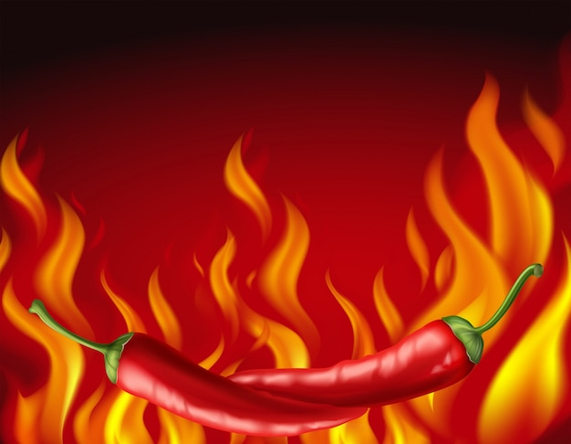 Chiles rojos y fuego caliente en el fondo