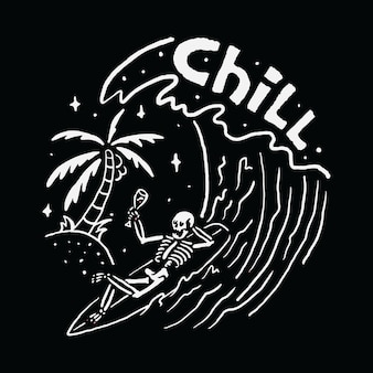 Chill skull surfing relax summer wave beach sea ilustración art t-shirt