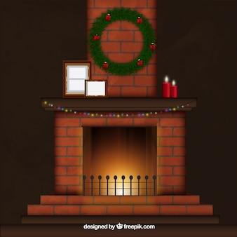 Chimenea con decoración navideña