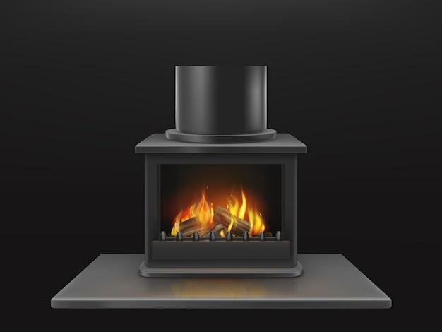 Chimenea moderna con troncos de madera en llamas, llama dentro de la caja de fuego metálica