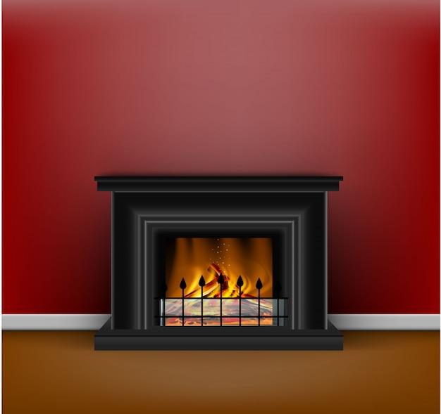 Chimenea negra clásica con un fuego ardiente para el diseño de interiores en estilo arena o hygge en rojo