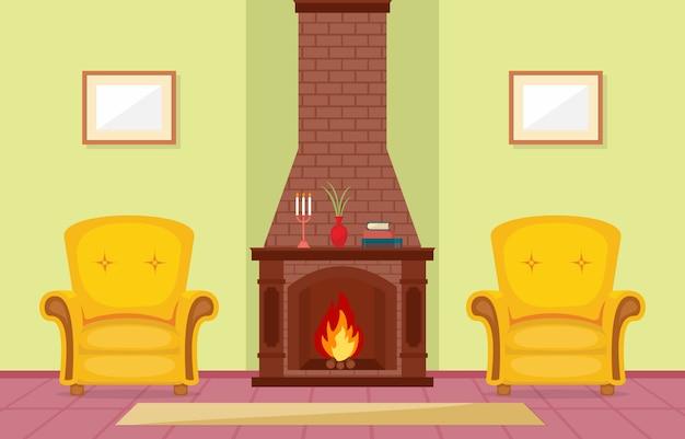 Chimenea sala de estar casa casa interior muebles vector ilustración