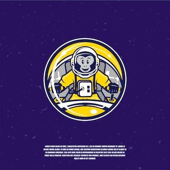 Chimpancé astronautas ilustración logo premium
