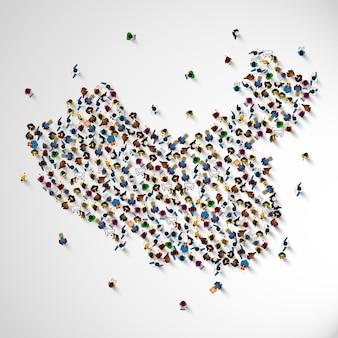 China muchas personas firman mapa. ilustración vectorial