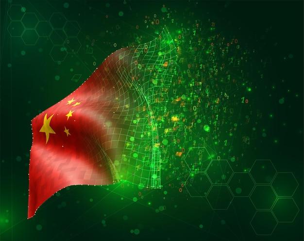 China, vector bandera 3d sobre fondo verde con polígonos y números de datos