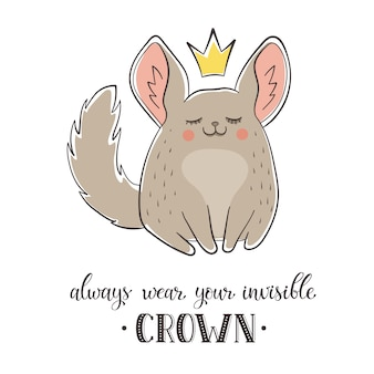 Chinchilla de dibujos animados con corona