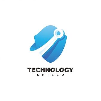 Chip de circuito tecnológico y logotipo de escudo
