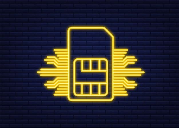 Chip de tarjeta sim para teléfono móvil. icono de neón. ilustración de stock vectorial.