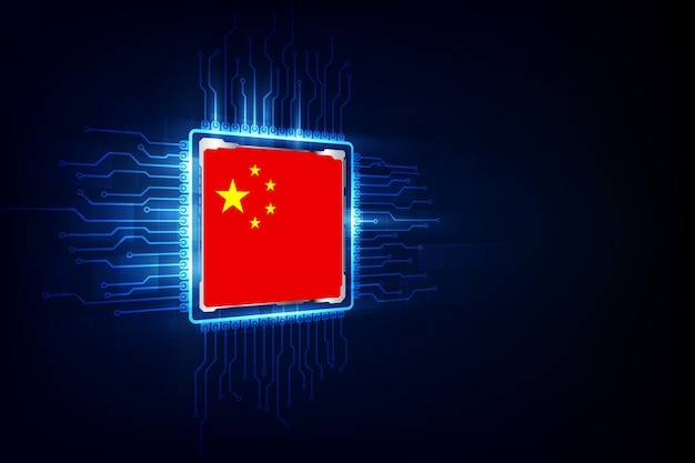 Chips de computadora sobre fondo digital con bandera china