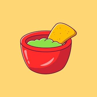 Chips de nachos en un tazón con salsa de guacamole y aguacate cocina mexicana.