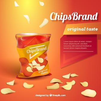 Chips publicitarios en estilo realista