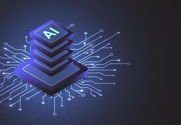Chipset isométrico de inteligencia artificial en placa de circuito en tecnología de concepto futurista