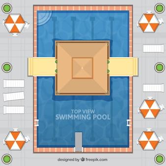 Chiringuito en una piscina en diseño plano