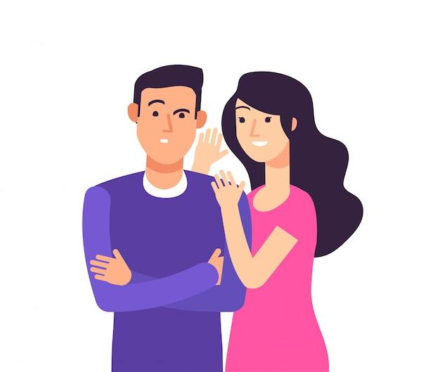 Chismoso. mujer hablando rumor chisme secreto susurro al hombre sorprendido susurrando concepto de dibujos animados
