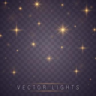 Las chispas amarillas y las estrellas brillan con un efecto de luz especial.