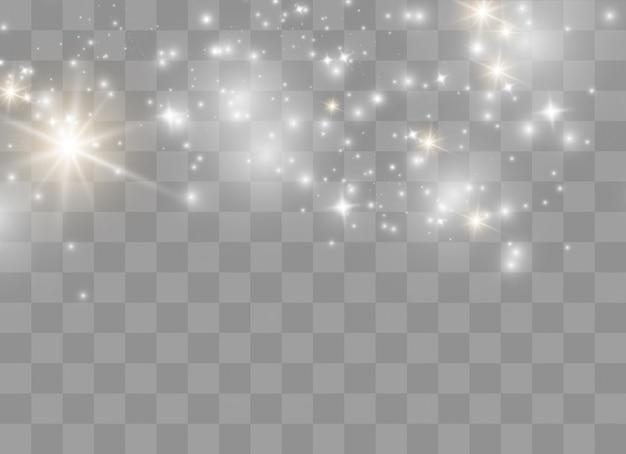 Chispas blancas brillan efecto de luz especial. destellos sobre fondo transparente. partículas de polvo mágico espumoso
