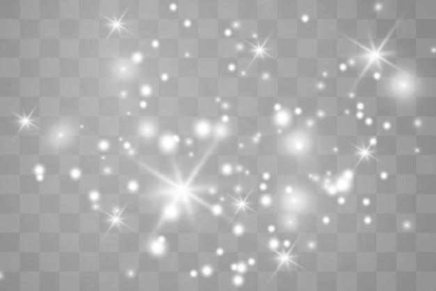 Chispas blancas brillan efecto de luz especial.