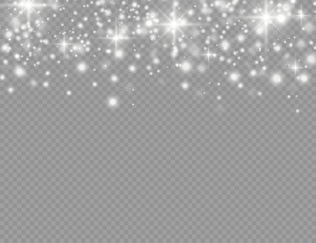 Las chispas blancas y las estrellas brillan con un efecto de luz especial. partículas brillantes de polvo de hadas.